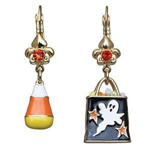Halloween Candy Corn,Trick Treat Earrings-Goldtone
